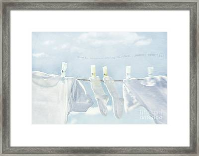 Clothes Hanging On Clothesline Framed Print by Sandra Cunningham