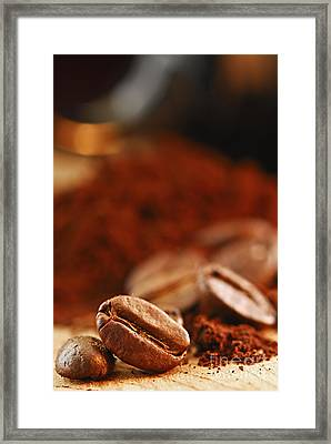 Coffee Beans And Ground Coffee Framed Print by Elena Elisseeva