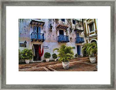 Colonial Buildings In Old Cartagena Colombia Framed Print by David Smith