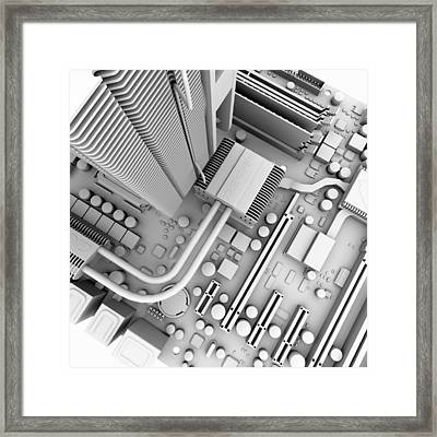 Computer Motherboard, Artwork Framed Print by Pasieka
