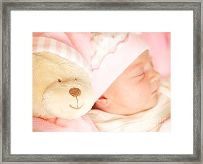 Cute Little Baby Sleeping Framed Print by Anna Omelchenko