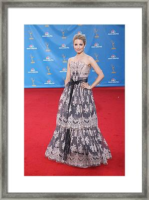 Dianna Agron Wearing A Carolina Herrera Framed Print by Everett
