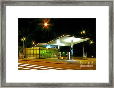 Estonian Gas Station At Night Framed Print by Jaak Nilson