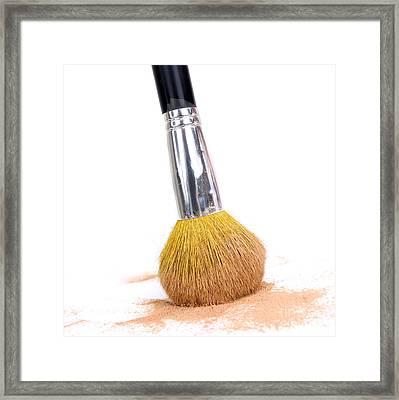 Face Powder And Make-up Brush Framed Print by Bernard Jaubert