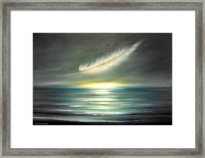 Feather At Sunset Framed Print by Gina De Gorna