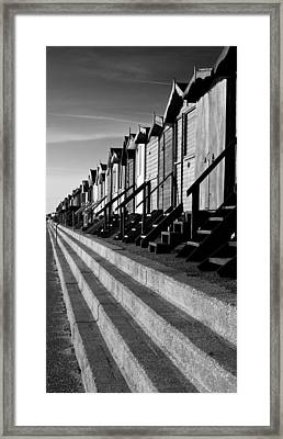 Frinton On Sea Beach Huts Framed Print by Darren Burroughs