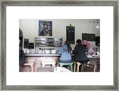 2 Girls At The Bakery Bar Framed Print by Kym Backland