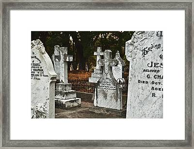 Gravestones In Graveyard Framed Print by Dave & Les Jacobs