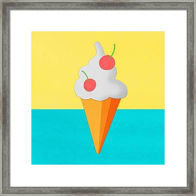 Ice Cream On Hand Made Paper Framed Print by Setsiri Silapasuwanchai