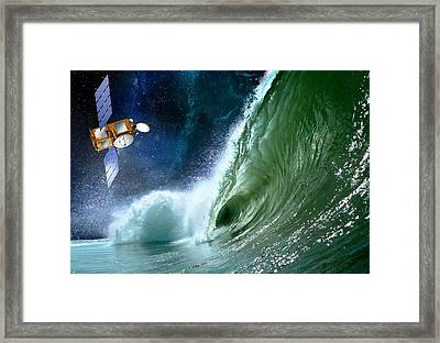 Jason-2 Satellite, Artwork Framed Print by David Ducros