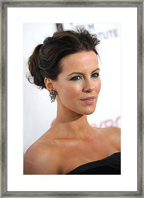 Kate Beckinsale At Arrivals Framed Print by Everett