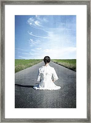 Lady On The Road Framed Print by Joana Kruse