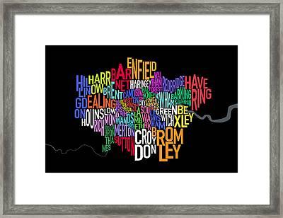 London Uk Text Map Framed Print by Michael Tompsett