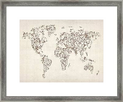 Map Of The World Map Floral Swirls Framed Print by Michael Tompsett