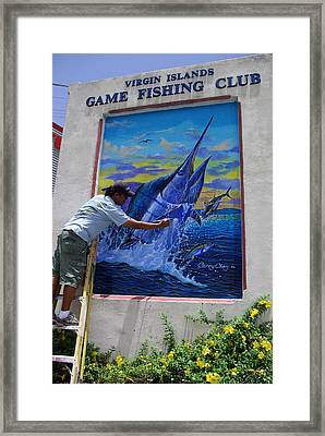 Mural In St Thomas Framed Print by Carey Chen