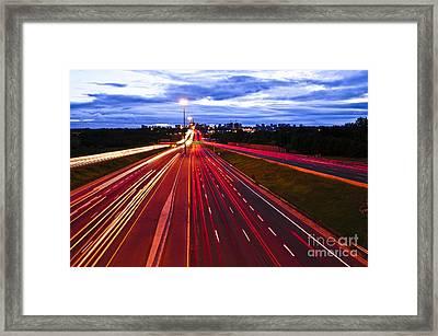Night Traffic Framed Print by Elena Elisseeva