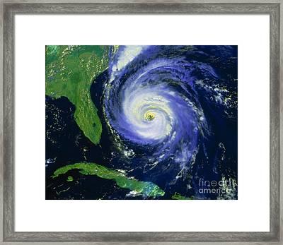 Noaa Satellite Image Of Hurricane Fran Framed Print by NASA / Science Source