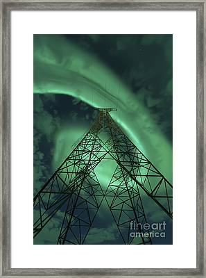 Powerlines And Aurora Borealis Framed Print by Arild Heitmann