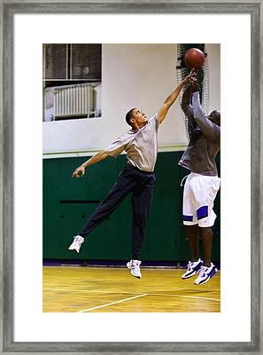 President Barack Obama Plays Basketball Framed Print by Everett