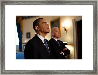President Obama And Vp Biden Framed Print by Everett