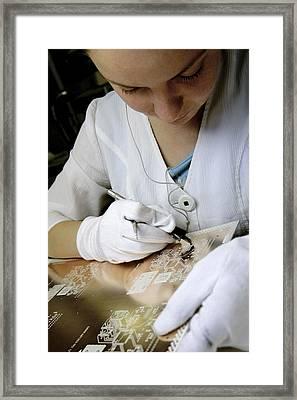 Printed Circuit Board Production Framed Print by Ria Novosti