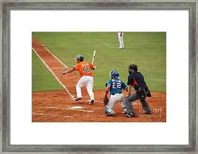 Professional Baseball Game In Taiwan Framed Print by Yali Shi