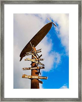 Road Signs At Haleiwa Framed Print by Ron Regalado