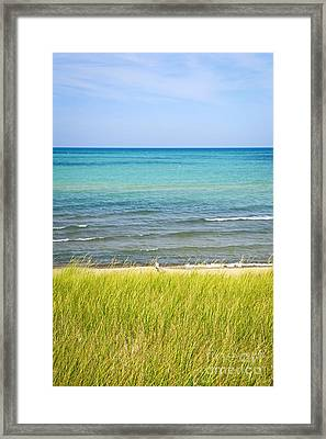 Sand Dunes At Beach Framed Print by Elena Elisseeva