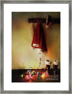 Santa Costume Hanging On Coat Hook /digital Painting  Framed Print by Sandra Cunningham