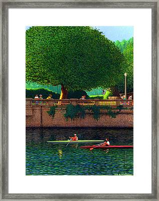 Scullers At Coal Harbour Framed Print by Neil Woodward