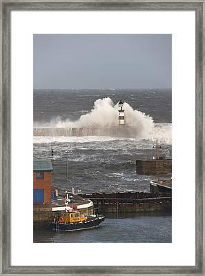 Seaham, Teesside, England Waves Framed Print by John Short