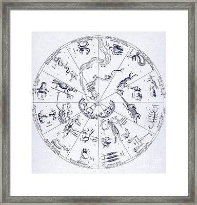 Star Map From Kirchers Oedipus Framed Print by Science Source