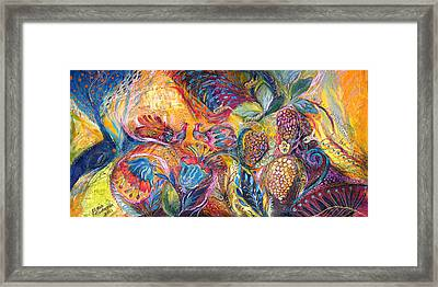 The Flowers And Fruits Framed Print by Elena Kotliarker