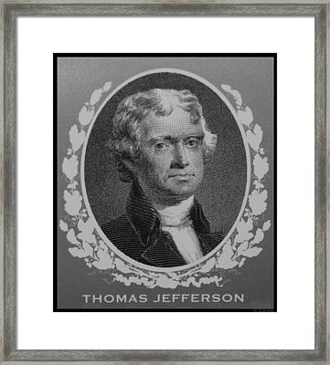 Thomas Jefferson In Black And White Framed Print by Rob Hans