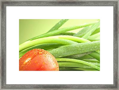 Tomato And Green Onions Framed Print by Blink Images
