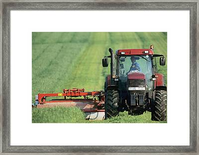 Tractor Cutting Grass For Silage Framed Print by Jeremy Walker