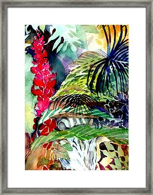 Tropical Waterfall Framed Print by Mindy Newman
