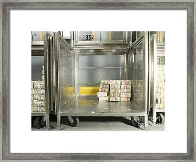 Us Dollar Bills In A Bank Cart Framed Print by Adam Crowley