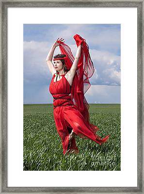 Woman In Red Series Framed Print by Cindy Singleton
