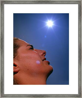 Woman's Face With 'sun' Framed Print by David Parker