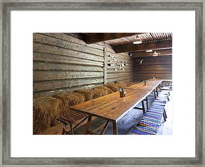 Wooden Dining Tables Framed Print by Jaak Nilson