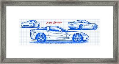 2009 C6 Corvette Blueprint Framed Print by K Scott Teeters