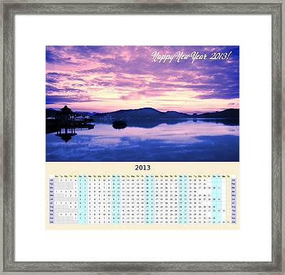 2013 Wall Calendar With Sun Moon Lake Sunrise Framed Print by Yali Shi