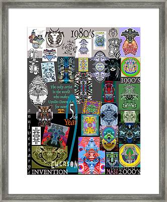 25th Anniversary Collector's Poster By Upside Down Artist And Inventor L R Emerson II Framed Print by L R Emerson II