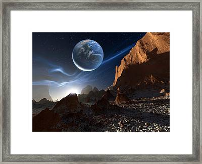 Alien Landscape, Artwork Framed Print by Detlev Van Ravenswaay