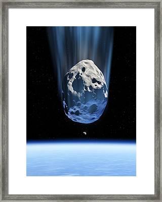 Asteroid Approaching Earth, Artwork Framed Print by Detlev Van Ravenswaay