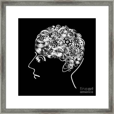 Brain Design By Cogs And Gears Framed Print by Setsiri Silapasuwanchai