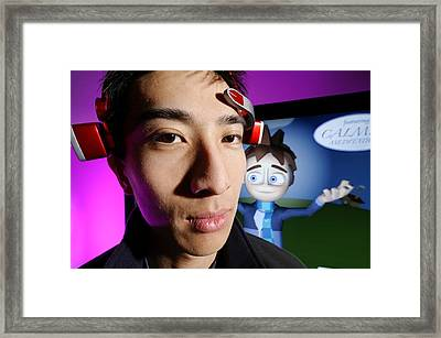 Brainwave-reading Headset Framed Print by Volker Steger