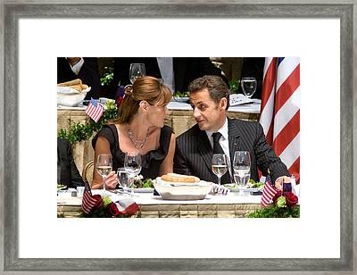 Carla Bruni-sarkozy, Nicolas Sarkozy Framed Print by Everett