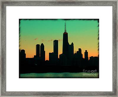 Chicago Skyline Cartoon Framed Print by Sophie Vigneault